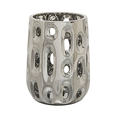 Cole & Grey Ceramic Vase; Lacquered Silver
