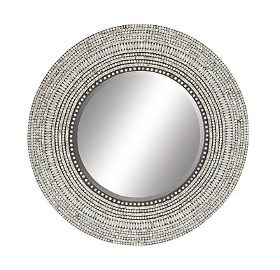 Cole & Grey Wood Shell Inlay Round Mirror; 40'' H x 40'' W x 1'' D