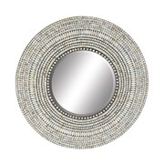 Cole & Grey Wood Shell Inlay Round Mirror; 32'' H x 32'' W x 1'' D