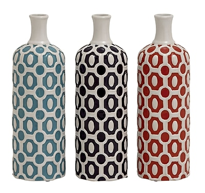 Cole & Grey Ceramic Vase Set (Set of 3); 13'' H x 4'' W x 4'' D