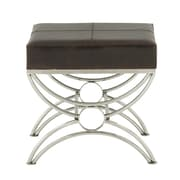 Cole & Grey Stainless Steel and Leather Accent stool; Black