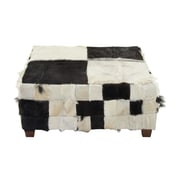 Cole & Grey Wood Hide Cocktail Ottoman; Black/White