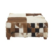Cole & Grey Wood Hide Cocktail Ottoman; Black/Brown/White