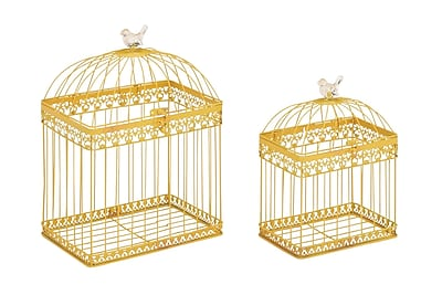 Cole & Grey 2 Piece Metal Acrylic Decorative Bird Cage Set; Yellow