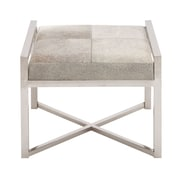 Cole & Grey Stainless Steel and Leather Hide Stool; Gray
