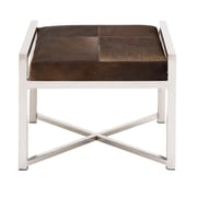 Cole & Grey Stainless Steel and Leather Hide Stool; Bronze Dark Brown
