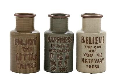 Cole & Grey Ceramic Vase (Set of 3); 11'' H x 6'' W x 6'' D