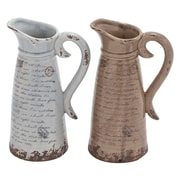 Cole & Grey Ceramic Pitcher (Set of 2); 12'' H x 8'' W x 6'' D