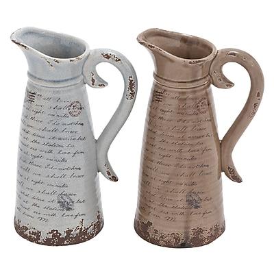 Cole & Grey Ceramic Pitcher (Set of 2); 12'' H x 8'' W x 6'' D