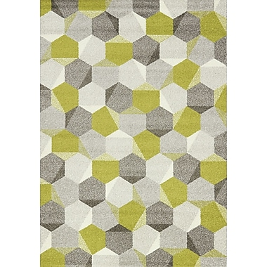 Ebern Designs Jeanie Gray/Green Area Rug; 2' x 3'7''