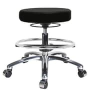 Perch Chairs & Stools Height Adjustable Massage Therapy Swivel Stool w/ Foot Ring; Black Fabric