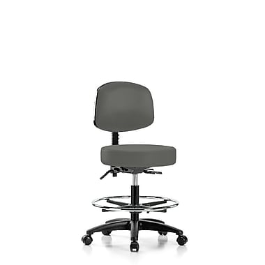 Perch Chairs & Stools Height Adjustable Doctor Stool w/ Foot Ring; Charcoal Vinyl