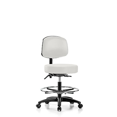 Perch Chairs & Stools Height Adjustable Doctor Stool w/ Foot Ring; Adobe White Vinyl