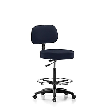 Perch Chairs & Stools Height Adjustable Exam Stool w/ Basic Backrest and Foot Ring; Imperial Fabric