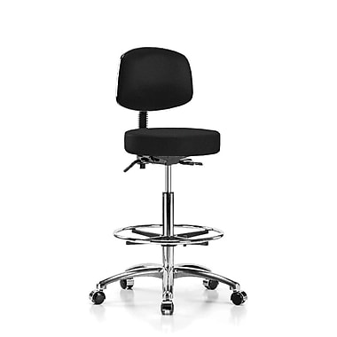 Perch Chairs & Stools Height Adjustable Doctor Stool w/ Foot Ring; Black Fabric