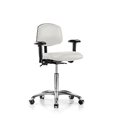 Perch Chairs & Stools Multi-Task Low-Back Desk Chair; Adobe White Vinyl