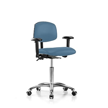Perch Chairs & Stools Multi-Task Low-Back Desk Chair; Colonial Blue Vinyl
