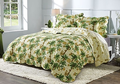 Greenland Home Fashions Palmetto 100pct Cotton Reversible Quilt Set; Full/Queen