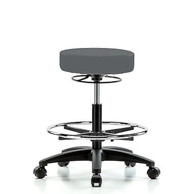 Perch Chairs & Stools Height Adjustable Stool w/ Foot Ring; Cinder Fabric