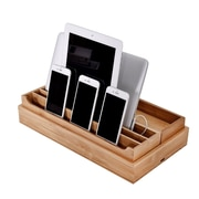 Rebrilliant 3 Piece Eco-Friendly Bamboo Multi Device Organizer Charging Station and Dock Set