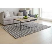 Mats Inc. Wool Blend Hand-Woven Gray/White Area Rug; 5' x 7'
