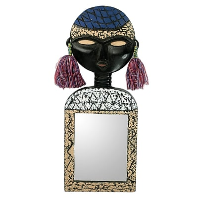 Novica Beautiful Woman African Mask on Hand crafted Wall Mirror