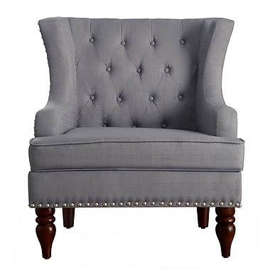 iNSTANT HOME Jewel Tufted Wingback Club Chair; Grey
