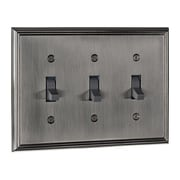 Richelieu Triple Toggle Switch Plate; Brushed Nickel