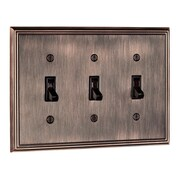 Richelieu Triple Toggle Switch Plate; Brushed Oil Rubbed Bronze
