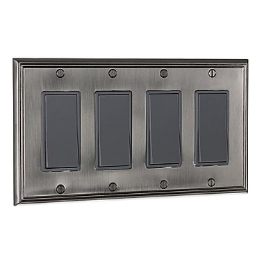 Richelieu Decora Four Switch Plate; Brushed Nickel