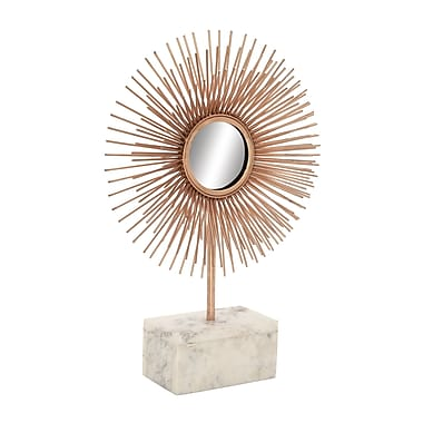 Cole & Grey Metal Marble Sculpture Mirror; Copper
