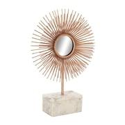 Cole & Grey Metal Marble Sculpture Mirror; Copper