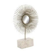 Cole & Grey Metal Marble Sculpture Mirror; Silver