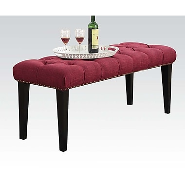A&J Homes Studio Sunny Upholstered Bedroom Bench; Red