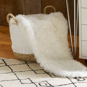 Rosdorf Park Loraine Faux Fur Throw Blanket; White