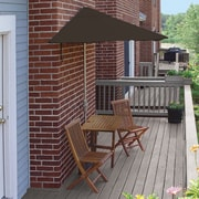 Blue Star Group Terrace Mates Villa Standard 5 Piece Dining Set; Chocolate Sunbrella