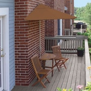 Blue Star Group Terrace Mates Bistro Economy 5 Piece Dining Set; Teak Sunbrella