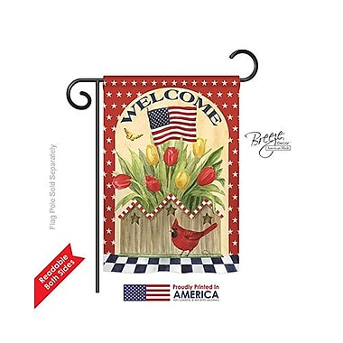 TwoGroupFlagCo Patriotic Flowers 2-Sided Vertical Flag