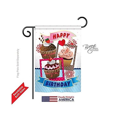 TwoGroupFlagCo Birthday Cupcake 2-Sided Vertical Flag; 40'' H x 28'' W