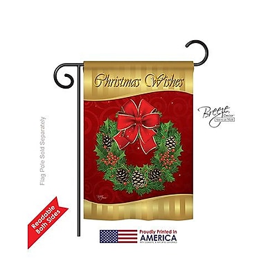 Breeze Decor Christmas Wishes 2-Sided Vertical Flag; 18.5'' H x 13'' W