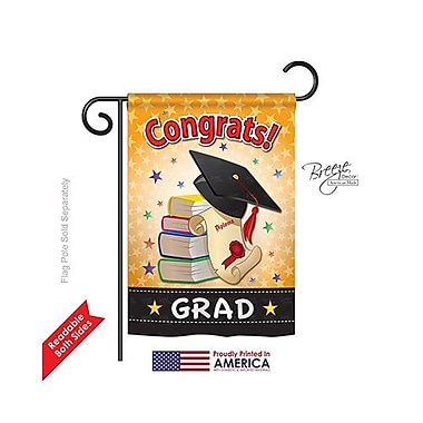 TwoGroupFlagCo Congrats Grad 2-Sided Vertical Flag; 18.5'' H x 13'' W