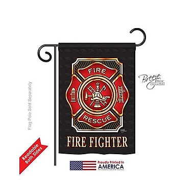 TwoGroupFlagCo Fire Fighter 2-Sided Vertical Flag; 18.5'' H x 13'' W