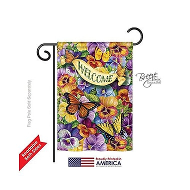 TwoGroupFlagCo Pansies w/ Butterflies 2-Sided Vertical Flag; 18.5'' H x 13'' W
