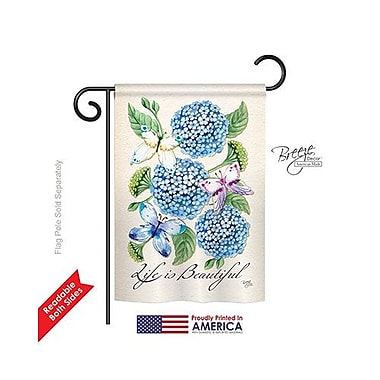 TwoGroupFlagCo Life is Beautiful Hydrangeas 2-Sided Vertical Flag; 40'' H x 28'' W