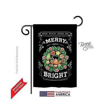 TwoGroupFlagCo Merry and Bright 2-Sided Vertical Flag; 18.5'' H x 13'' W