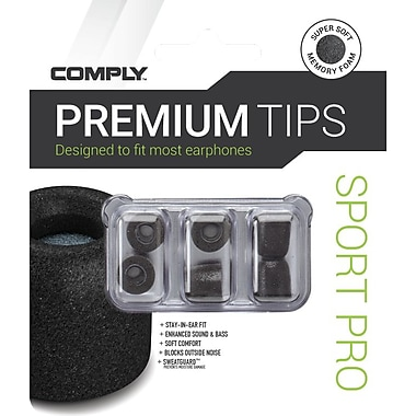 Comply Sport Pro Earphone Tips, Black, Medium (19-00101-22)