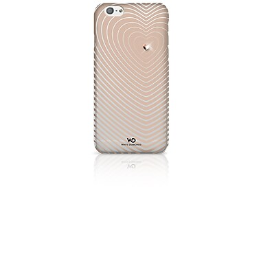 White Diamonds Heartbeat Cell Phone Case for iPhone 6/6S, Rose Gold (1310HBT56)