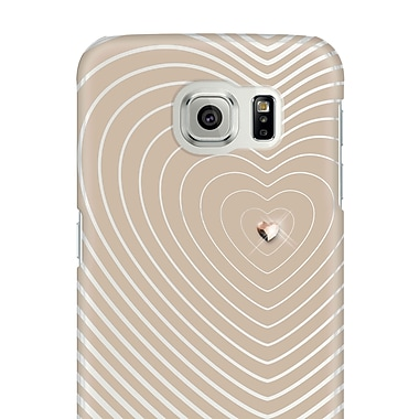 White Diamonds Heartbeat Cell Phone Case for Galaxy S6, Rose Gold (2510HBT56)