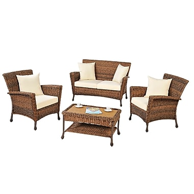 Best Desu Tropical Collection Faux Seagrass 4-Piece Conversation Set (SW1529Set4)
