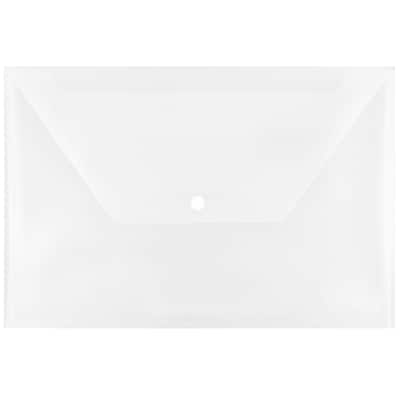 JAM Paper® Plastic Envelopes with Snap Closure, Legal Booklet, 9.75 x 14.5, Clear Poly, 12/pack (34830)